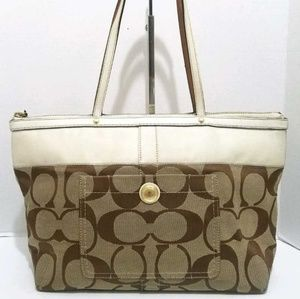 COACH Signature Stripe Tan Jacquard Tote